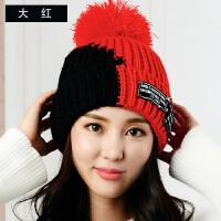 帽子女秋冬毛线帽时尚韩版百搭英伦青年学生套头护耳保暖防风针织帽