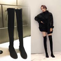 长靴女过膝5050定制高筒靴秋冬季平底长筒靴显瘦弹力靴加绒女靴子