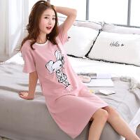 纯棉睡衣女夏季韩版清新学生可爱宽松甜美短袖可外穿睡裙女士夏天