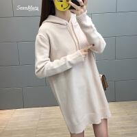 女士毛衣女装春装新款2018韩版中长款毛衣裙打底衫长袖百搭外穿潮