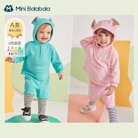 迷你巴拉巴拉婴儿长袖套装2021春新款卫衣假两件打底裤套装