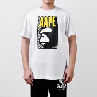Aape猿人头男士纯棉印花短袖T恤AAPTEM2532XX5白