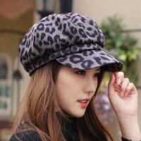 帽子女秋冬贝雷帽韩版豹纹八角帽画家帽时尚潮流显脸小气质网红帽 54-58cm