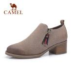 camel骆驼2018秋冬新款时尚单鞋女反绒磨砂皮圆头粗跟侧拉链黑色深口鞋