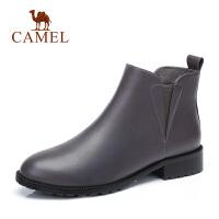 骆驼秋冬新款真皮鞋子女踝靴中跟短筒马丁短靴粗跟切尔西靴子