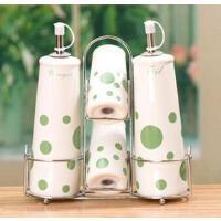 厨房用品 陶瓷调味瓶四件套 带不锈钢铁艺搁物架 颜色*