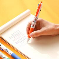 晨光四色圆珠笔按压式多色笔合一多功能0.5五色可爱少女彩色红黑蓝色0.7原子笔4色笔三色笔学生用多彩中油笔