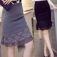 加肥加大码中长款半身裙秋冬装韩版200斤胖MM高腰弹力包臀一步裙
