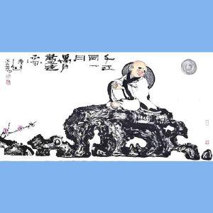 国内文与画俱佳的艺术家中国北方书画研究会常务理事国家一级美术师刘子玉(千江同一月)