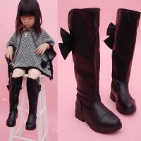 儿童靴子秋冬韩版女中大童蝴蝶结单靴黑色过膝公主高筒皮靴子长靴
