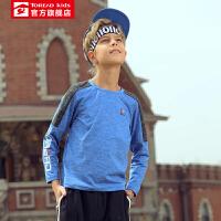 【商场同款4折价:79元】探路者儿童童装 19秋冬户外男童儿童磨毛工艺长袖T恤QAJH93001