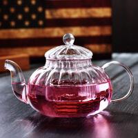 耐热过滤玻璃茶壶套装 功夫茶具南瓜条纹壶 600ML玻璃内胆过滤花茶壶玻璃壶功夫茶具
