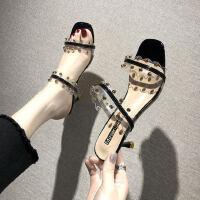 韩版女士露趾凉鞋性感铆钉高跟鞋女 新款凉鞋女细跟水晶拖鞋女