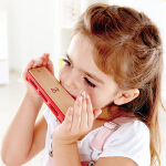 Hape儿童布鲁斯口琴3岁以上婴幼音乐玩具专业早教木制数字标注音阶便携蓝调口琴 E0616