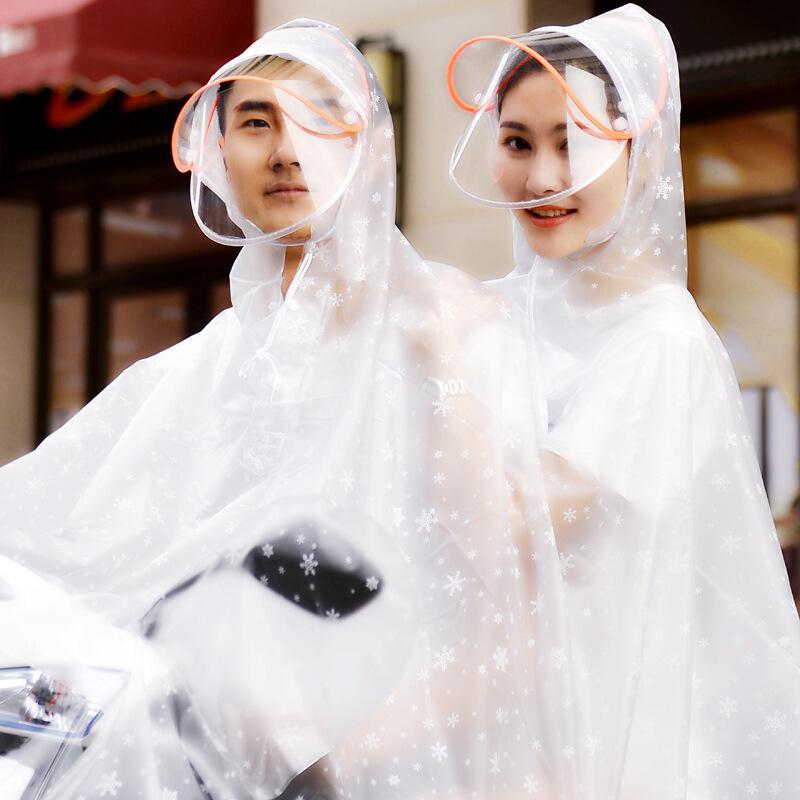 20190815022734350双人雨衣电瓶车加大两侧加长遮脚男女摩托母子超大头盔面罩双帽檐