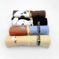 青壹坊TR-AA29619三只熊卷笔袋4款图案颜色随机创意文具笔盒文具袋韩式风格大中小学生幼儿园男女孩办公开学用品收纳