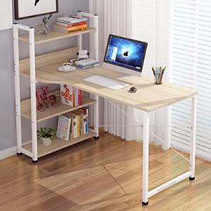 亿家达简约现代家用台式电脑桌带书架组合卧室写字台简易办公桌子