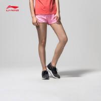 李宁短裤卫裤女士2017新款训练系列针织运动裤AKSL254