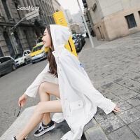 防晒衣女中长款夏装2018新款女学生韩版潮宽松bf空调衫透气 白色