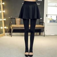 秋冬季外穿加绒加厚假两件打底裤裙裤女士高腰带裙子的裤子连裤裙 黑色 加绒加厚黑色