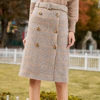 秋水伊人半身裙2018冬装新款女装简约格纹双排扣腰带英伦风裙子女