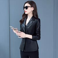 2019新款秋冬皮衣女短款修身显瘦西装领皮夹克休闲小外套