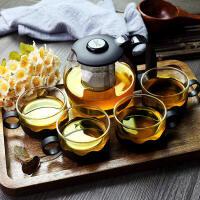 征伐 茶具套装 加厚耐热玻璃茶壶不锈钢过滤塑料泡茶杯家用花草茶杯套装一壶4杯装 1壶4杯
