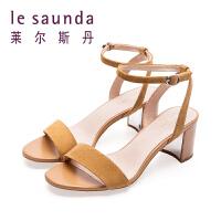 莱尔斯丹 夏新款百搭一字扣带女士中跟粗高跟凉鞋9M59701