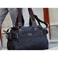 男士帆布手提包大容量时尚旅行包男式休闲包挎包男单肩包韩版男包 2086中号黑灰色 标准尺码