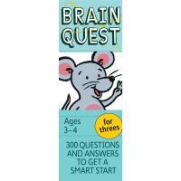 Brain Quest for Threes Ages 3-4岁 少儿英文原版 大脑任务 美国学前全科练习 智力问答开发卡