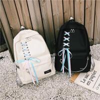 街拍书包女韩版潮流链条原宿ulzzang双肩包 高中学生校园飘带背包
