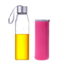 550ML耐热玻璃水瓶便携水杯杯子 女透明水瓶学生运动男韩版创意车载玻璃杯子矿泉水瓶带盖茶杯