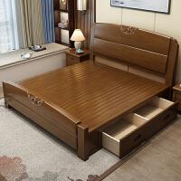 实木床主卧1.8米双人床新中式经济型现代简约1.5米单人储物高箱床