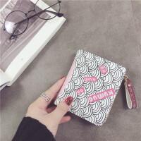 卡通短款两折女生小钱包创意个性拉链零钱包可爱多功能小钱夹