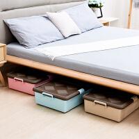 床底收纳箱塑料整理箱特大号床下装衣服被子收纳盒衣物储物箱滑轮 78.5*39.5*15.5cm