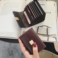 钱包女短款新款手拿薄款搭扣牛皮小钱包迷你银行卡卡包潮