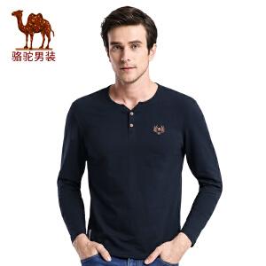 骆驼男装 秋季新款时尚都市青年T恤门筒领绣标休闲长袖T恤男