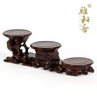 红木雕刻奇石根雕底座 紫砂壶花盆工艺品摆件木托 实木质花瓶木座
