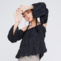 【10.16联合品牌日 预估到手价:588元】dzzit地素 2019夏装新款一字领压褶喇叭袖雪纺衬衫女3G2D104