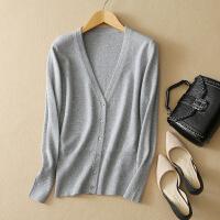 春季新款女士V领纯山羊绒衫针织开衫休闲长袖纯色外套