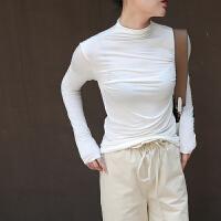 中领半高领打底衫薄款修身紧身长袖纯色内搭上衣T恤女秋冬 均码