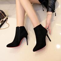 女鞋子2018秋冬季新款韩版时尚绒面短靴女高跟尖头细跟马丁靴裸靴 黑色