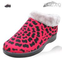 欣清2016新款老北京布鞋女士棉鞋时尚保暖豹纹斑点复古妈妈鞋