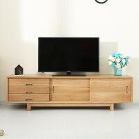 实木电视柜 纯实木北欧纯实木创意现代推拉电视柜 简约白橡木客厅家具环保茶几 组装