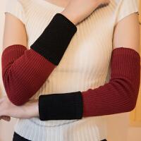 手臂套加长秋冬季双层加厚女手套套袖针织羊绒毛线袖套保暖假袖子 均码