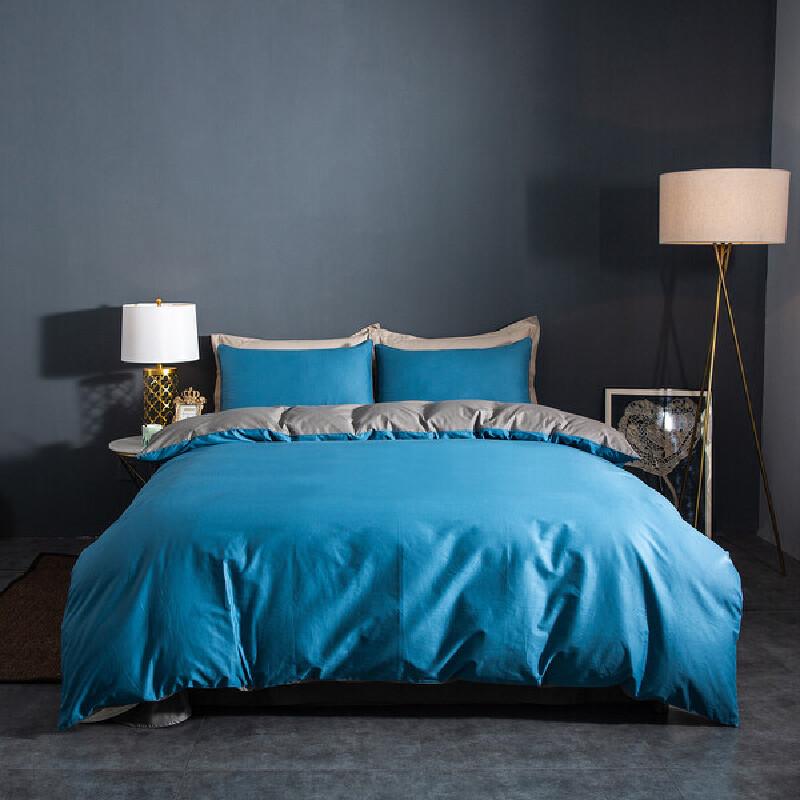 贝赛亚四件套 纯棉贡缎床单款双人床品件套 蓝色