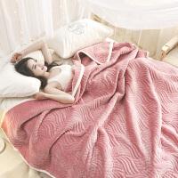 双层夹棉加厚毛毯珊瑚绒毯子被子盖毯法兰绒冬季空调毯单双人床单 z三层复合 加厚豆沙 200cm×230cm 厂家直销