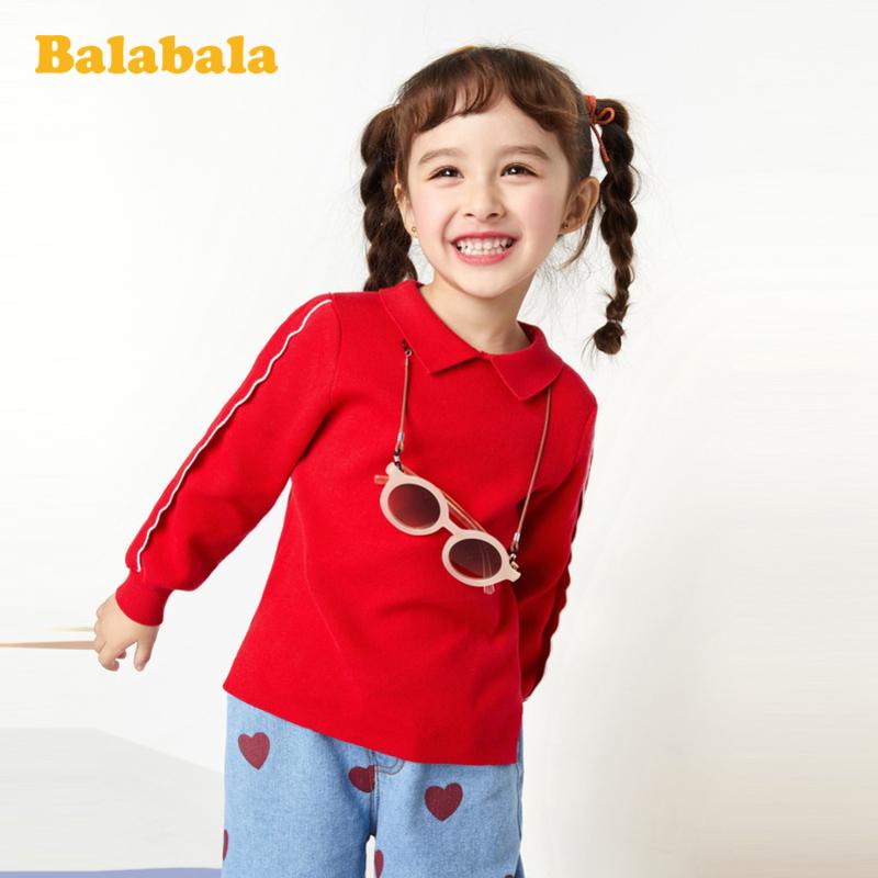 【7折价:97.93】巴拉巴拉童装女童毛衣2020新款春季儿童针织衫小童宝宝甜美套头衫