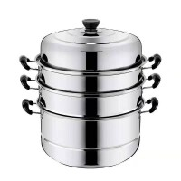 26cm三层加厚不锈钢蒸锅家用不锈钢锅双层汤锅蒸馒头包子锅具