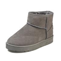 冬季雪地靴女短筒靴懒人平底短靴女冬加绒保暖棉鞋加厚学生面包鞋 灰色 偏小一码
